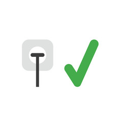 Icon concept of plug plugged into outlet with vector