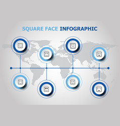 Infographic design with square face icons vector
