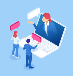 isometric online virtual assistant services and vector image