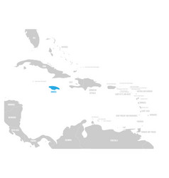 Jamaica blue marked in the map of caribbean vector