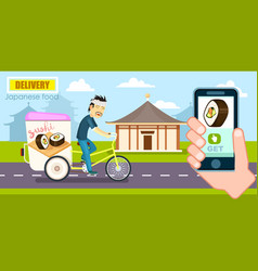 Japanese food delivery poster with courier vector