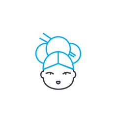 Japanese woman linear icon concept japanese woman vector