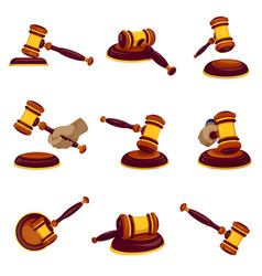 Judge hammer icon set cartoon style vector