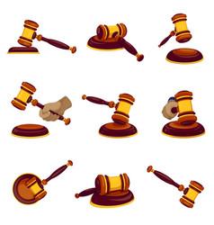 judge hammer icon set cartoon style vector image
