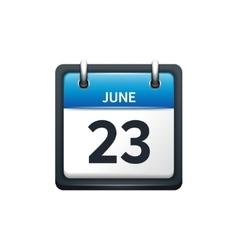 June 23 Calendar icon flat vector