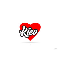Kiev city design typography with red heart icon vector