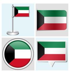 Kuwait flag - sticker button label flagstaff vector image