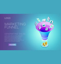 Landing page design with concept of marketing vector