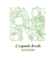 letter n pattern logo organic farm fresh fruits vector image