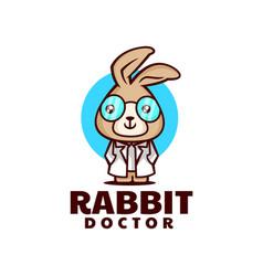 Logo rabbit mascot cartoon style vector