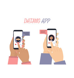 man and woman hands with phone app white vector image