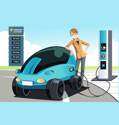 Man charging electric car vector
