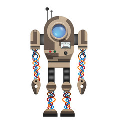 Mechanical robot with round screen and antennas vector