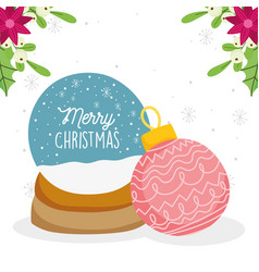 merry christmas celebration snowglobe snow ball vector image