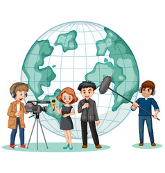 news reporter and photographer with globe in vector image