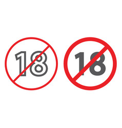 No 18 plus line and glyph icon prohibited and ban vector