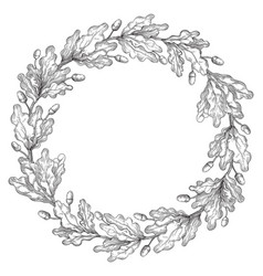 Oak wreath frame vector