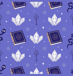 Occult cartoon seamless pattern with spell book vector