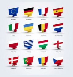 origami pin flags world europe set vector image