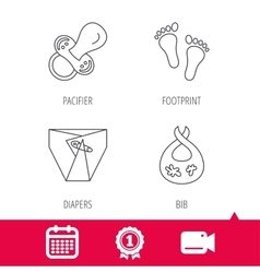 Pacifier diapers and footprint icons vector