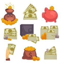 Paper money and money bag icon set vector image