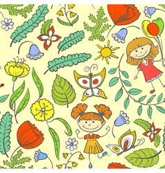 pattern with kids vector image