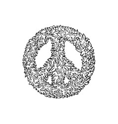 Peace sign leaf icon vector