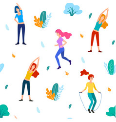 people in the park flat vector image