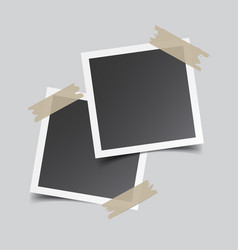 Photo frame with adhesive tape isolated on grey vector