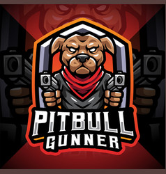 Pitbull gunner esport mascot logo vector