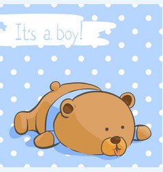postcard with a funny bear for a boy vector image