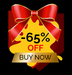 promotional banner 65 percent reduction cheap cost vector image