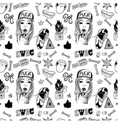 rap music hip hop doodle pattern with rap vector image