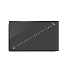 Realistic black television screen with isolated vector