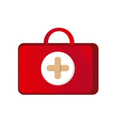 red suitcase healthcare with pink hospital symbol vector image