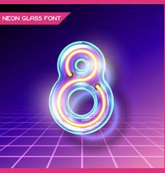 retro glass neon font vector image