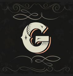 Retro style western letter design letter g vector