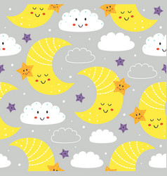 seamless pattern with cute moonstar and cloud vector image