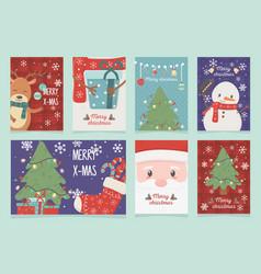 set cards celebration happy christmas vector image