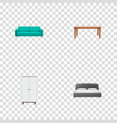 set of furniture realistic symbols with furniture vector image