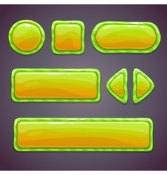 Set of green funny buttons vector