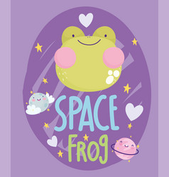 space frog face love cartoon cute text vector image