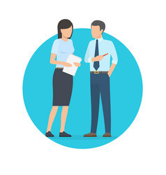 start up man and woman talking vector image