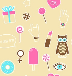 Sticker fashion seamless pattern vector