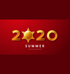 summer 2020 red background with golden numbers vector image