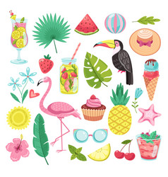 summer elements tropical vacation stickers vector image