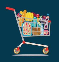 supermarket shopping cart isolaited vector image