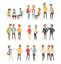 Teenage boys groups cartoon icons vector