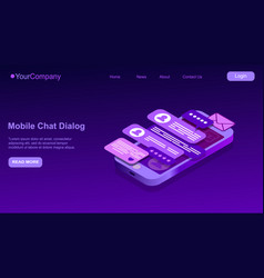 Text message isometric mobile chat dialog vector
