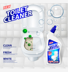 Toilet cleaner banner ads effect of cleaner vector